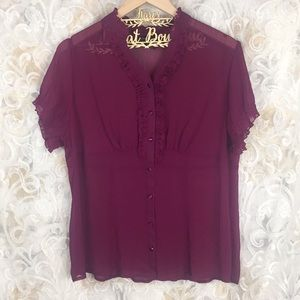 Lane Bryant 14/16 sheer purple button up